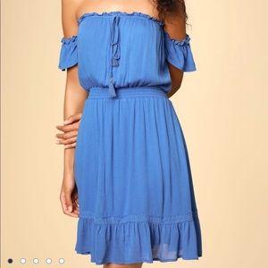 NWOT LULU'S OFF-SHOULDER BLUE DRESS, SZ S